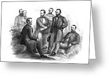 Lincoln And His Generals Black And White Greeting Card