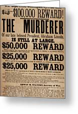 Lincoln Assassination Reward Poster Greeting Card