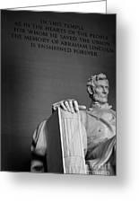 Lincoln Memorial In Washington Dc President Greeting Card