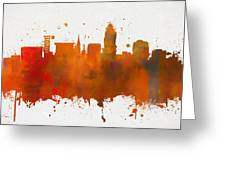 Lincoln Nebraska Colorful Skyline Greeting Card