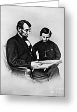 Lincoln Reading To His Son Greeting Card