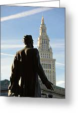 Lincoln Statue And Terminal Tower Greeting Card