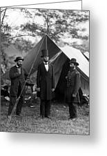 Lincoln With Allan Pinkerton - Battle Of Antietam - 1862 Greeting Card