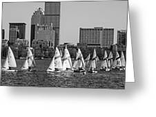 Line Of Boats On The Charles River Boston Ma Black And White Greeting Card