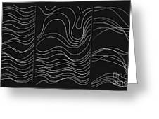 Lines 1-2-3 White On Black Greeting Card