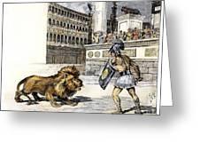 Lion & Gladiator Greeting Card