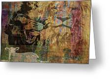 Lion And Lamb Collage Greeting Card