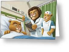 Lion Cub In Hospital Greeting Card