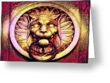 Lion Door Knocker In Dusseldorf, Germany Greeting Card