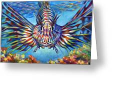 Lion Fish Greeting Card by Nancy Tilles