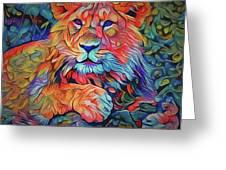 Lion In Burst Greeting Card
