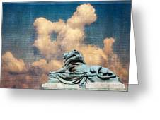 Lion In The Clouds Greeting Card