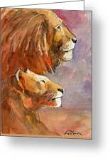 Lion, Lioness Greeting Card
