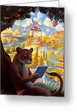 Lion Reading Greeting Card