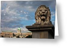 Lion Sculpture In Budapest Greeting Card