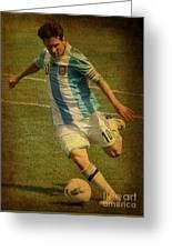 Lionel Andres Messi Argentine Footballer Fc Barcelona  Greeting Card by Lee Dos Santos