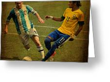 Lionel Messi And Neymar Junior Vintage Photo Greeting Card by Lee Dos Santos