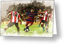 Lionel Messi Challenges The Athletic Bilbao Defense Greeting Card