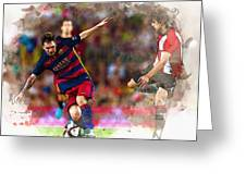 Lionel Messi  Fights For The Ball Greeting Card