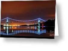 Lions Gate Bridge At Night 2 Greeting Card