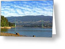 Lions Gate Bridge By Stanley Park Greeting Card
