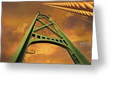 Lions Gate Bridge Tower Greeting Card