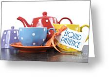 Liquid Patience Colorful Tea Set. Greeting Card