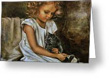 Lisa With A Cat Greeting Card