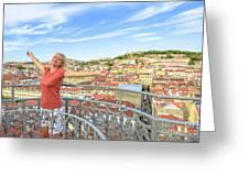 Lisbon Aerial Enjoying Greeting Card