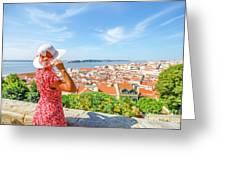 Lisbon Castle Woman Greeting Card