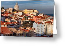 Lisbon Cityscape In Portugal At Sunset Greeting Card