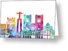 Lisbon Landmarks Watercolor Poster Greeting Card