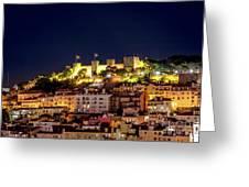 Lisbon Night Background Greeting Card