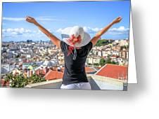 Lisbon Panorama Enjoying Greeting Card