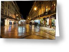 Lisbon Portugal Night Magic - Nighttime Shopping In Baixa Pombalina Greeting Card