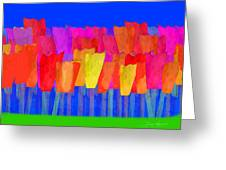 Lisse - Tulips Blue On Green Greeting Card