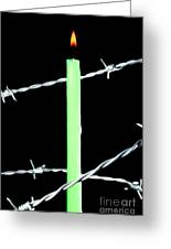 Lit Candle Surrounded By Barbed Wire Greeting Card