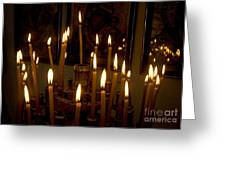 lit Candles in church  Greeting Card
