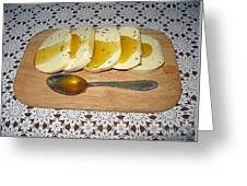 Lithuanian National Food. Cottage Cheese With Honey. Greeting Card