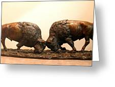 Litigation  Bronze Sculpture Of Two American Bison Bulls Fighting Greeting Card