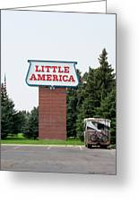 Little America Hotel Signage Vertical Greeting Card