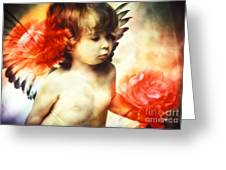 Little Angel With Rose Greeting Card