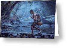 Little Asian Kid Fishing In The River Countryside Thailand. Greeting Card