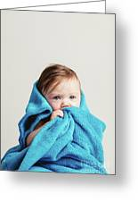 Little Baby Girl Tucked In A Cozy Blue Blanket. Greeting Card