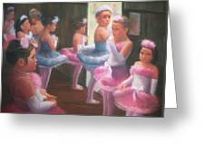 Little Ballerinas Backstage At The Recital Greeting Card