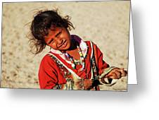 Little Bedouin Girl Greeting Card by Chaza Abou El Khair
