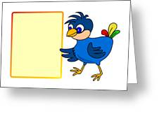 Little Bird With Message Board Greeting Card