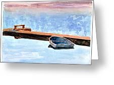 Little Boat On Foggy Lake II Greeting Card