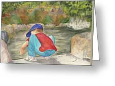 Little Boy At Japanese Garden Greeting Card