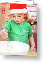 Little Boy Making Christmas Cookies Greeting Card
